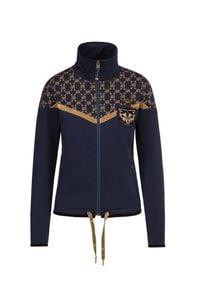 Bluza Aeronautica Militare ze stójką, w geometryczne wzory, długa, z długim rękawem