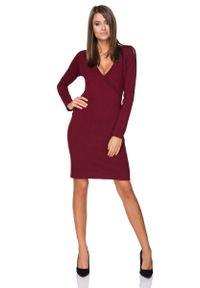 Tessita - Sukienka Wizytowa z Kopertowym Dekoltem - Bordowa. Kolor: czerwony. Materiał: bawełna, poliester. Typ sukienki: kopertowe. Styl: wizytowy