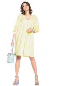 Tessita - Midi Sukienka z Bufiastym Rękawem - Żółta. Kolor: żółty. Materiał: bawełna. Długość: midi