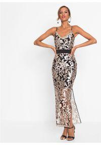 Złota sukienka bonprix w koronkowe wzory, wizytowa