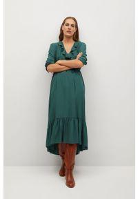 Zielona sukienka mango prosta, na co dzień, z długim rękawem, midi