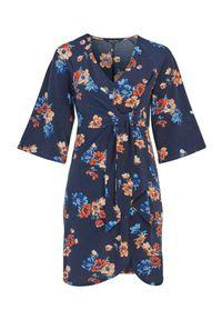Happy Holly Sukienka Alva niebieski we wzory female niebieski/ze wzorem 32/34L. Kolor: niebieski. Materiał: dzianina. Typ sukienki: asymetryczne