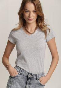 Renee - Jasnoszary T-shirt Mirasura. Kolor: szary