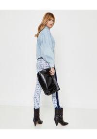 ISABEL MARANT - Wzorzyste legginsy Tisea. Kolor: biały. Materiał: jeans, materiał. Długość: długie. Wzór: aplikacja. Styl: klasyczny