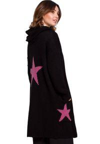 Czarny sweter BE Knit długi, z kapturem, sportowy