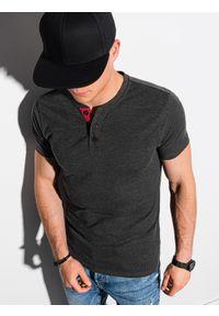 Ombre Clothing - T-shirt męski bez nadruku S1390 - czarny - XXL. Typ kołnierza: polo. Kolor: czarny. Materiał: bawełna, jeans, poliester