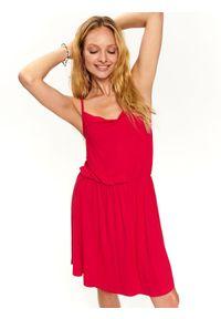 Różowa sukienka TOP SECRET na ramiączkach, koszulowa
