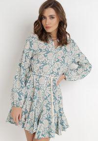 Born2be - Niebieska Sukienka Chloraste. Kolor: niebieski. Długość rękawa: długi rękaw. Wzór: kwiaty. Typ sukienki: koszulowe. Długość: mini
