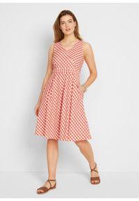 Sukienka midi bonprix głęboki pomarańczowy - biały w kratę. Kolor: pomarańczowy. Długość: midi