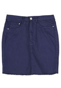 Niebieska spódnica TROLL na jesień, w kolorowe wzory, krótka