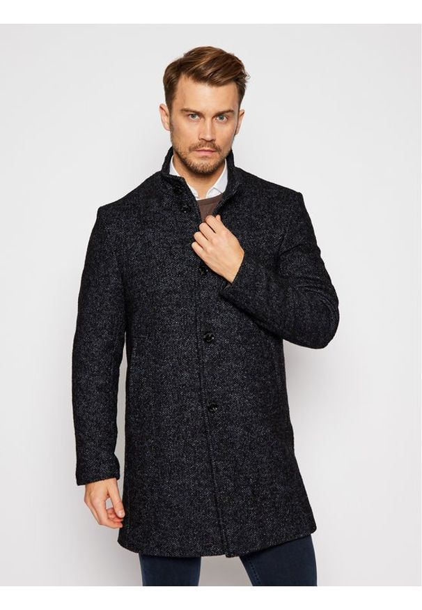 Niebieski płaszcz zimowy Pierre Cardin