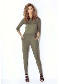 Wow Point - Khaki Kombinezon z Seksownym Dekoltem na Plecach. Kolor: brązowy. Materiał: wiskoza, elastan