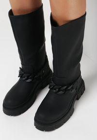 Born2be - Czarne Kozaki Dialody. Zapięcie: bez zapięcia. Kolor: czarny. Materiał: jeans, skóra. Wzór: kwiaty