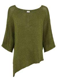 Sweter dzianinowy bonprix ciemna zieleń mchu. Kolor: zielony. Materiał: dzianina