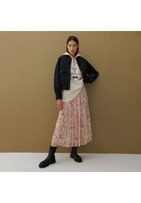 Reserved - Spódnica z plisowanej tkaniny - Różowy. Kolor: różowy. Materiał: tkanina