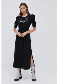 Liu Jo - Sukienka. Okazja: na co dzień. Kolor: czarny. Materiał: dzianina. Długość rękawa: krótki rękaw. Typ sukienki: proste. Styl: casual