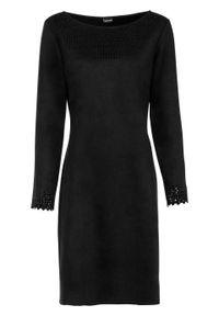 Sukienka ze sztucznej skóry zamszowej bonprix czarny. Kolor: czarny. Materiał: materiał, zamsz, skóra, poliester, elastan. Długość rękawa: długi rękaw. Typ sukienki: dopasowane