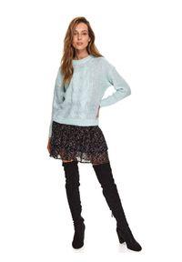 Turkusowy sweter TOP SECRET z długim rękawem, długi