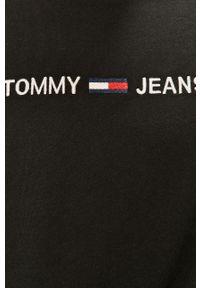 Czarny t-shirt Tommy Jeans casualowy, na co dzień, z aplikacjami
