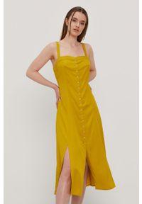Żółta sukienka RVCA casualowa, gładkie