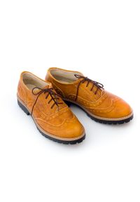 Zapato - półbuty - skóra naturalna - model 258 - kolor rudy retro. Nosek buta: okrągły. Zapięcie: sznurówki. Kolor: brązowy. Materiał: skóra. Wzór: kolorowy. Sezon: lato. Obcas: na obcasie. Styl: retro. Wysokość obcasa: niski