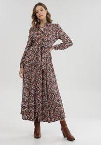 Born2be - Czarno-Różowa Sukienka Adrearith. Kolor: czarny. Materiał: materiał. Długość rękawa: długi rękaw. Wzór: kwiaty. Długość: maxi