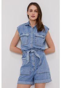 Niebieski kombinezon Pepe Jeans bez rękawów, casualowy, na co dzień, gładki