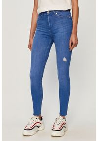 Niebieskie jeansy TALLY WEIJL w kolorowe wzory, z podwyższonym stanem