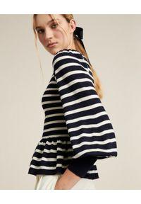 Luisa Spagnoli - LUISA SPAGNOLI - Wełniany sweter w paski Mattino. Kolor: czarny. Materiał: wełna. Długość rękawa: długi rękaw. Długość: długie. Wzór: paski
