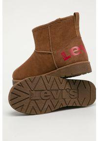 Brązowe buty zimowe Levi's® z okrągłym noskiem, biznesowe