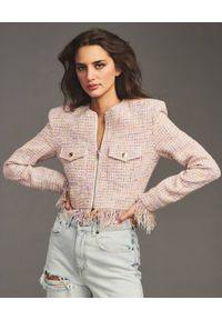 RETROFETE - Różowa marynarka Josie. Kolor: różowy, wielokolorowy, fioletowy. Materiał: jeans, wiskoza, materiał. Długość rękawa: długi rękaw. Długość: długie
