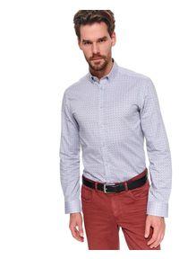 TOP SECRET - Koszula długi rękaw męska regular fit. Kolor: szary. Materiał: bawełna. Długość rękawa: długi rękaw. Długość: długie. Wzór: aplikacja. Sezon: wiosna