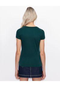 Armani Exchange - ARMANI EXCHANGE - Zielony T-shirt z nadrukiem. Okazja: na co dzień. Kolor: zielony. Materiał: bawełna, jeans. Wzór: nadruk. Styl: klasyczny, casual