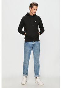 Calvin Klein Jeans - Bluza. Okazja: na co dzień. Typ kołnierza: kaptur. Kolor: czarny. Materiał: dzianina. Styl: casual
