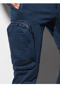 Ombre Clothing - Spodnie męskie dresowe joggery P918 - granatowe - XXL. Kolor: niebieski. Materiał: dresówka