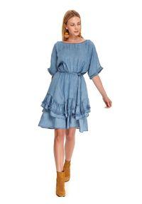 TOP SECRET - Sukienka z falbaną i wiązaniem. Kolor: niebieski. Sezon: jesień