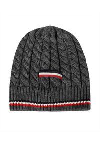 MONCLER - Szara czapka z paskami. Kolor: szary. Materiał: wełna, puch. Wzór: aplikacja. Sezon: jesień, zima. Styl: klasyczny