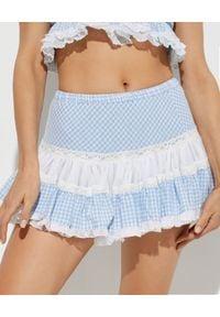 GADO GADO - Spódnica mini z falbaną. Okazja: na plażę, na imprezę. Kolor: niebieski. Materiał: koronka, bawełna. Wzór: kratka, koronka