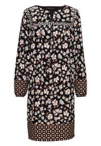 Sukienka z nadrukiem, długi rękaw bonprix czarno-brązowo-niebieski z nadrukiem. Kolor: czarny. Materiał: tkanina. Długość rękawa: długi rękaw. Wzór: nadruk. Styl: boho #1