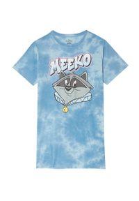 Undiz - Koszula piżamowa Meeko. Kolor: niebieski. Materiał: bawełna. Długość: krótkie. Wzór: nadruk
