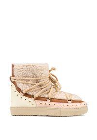 Beżowe buty zimowe Inuikii z aplikacjami, na zimę, rockowe