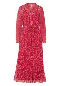 Długa sukienka bonprix czerwień granatu w kwiaty. Kolor: czerwony. Wzór: kwiaty. Długość: maxi