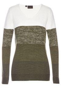 Długi sweter Premium z kaszmirem bonprix biel wełny - nocny oliwkowy. Kolor: biały. Materiał: kaszmir, materiał, poliester, wełna, wiskoza, poliamid. Długość: długie. Wzór: kolorowy