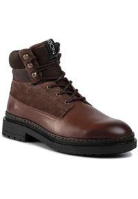 Brązowe buty zimowe Nobrand z cholewką
