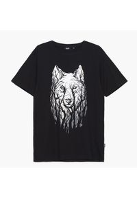 Cropp - Koszulka z nadrukiem - Czarny. Kolor: czarny. Wzór: nadruk
