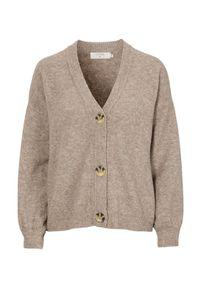 Beżowy sweter Cream klasyczny, melanż, z klasycznym kołnierzykiem