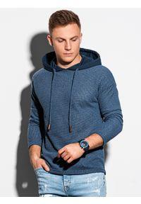 Niebieska bluza Ombre Clothing z kapturem, gładkie