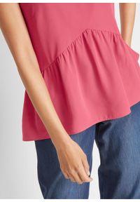 Bluzka bez rękawów, z dłuższym tyłem i baskinką bonprix dymny malinowy. Kolor: różowy. Długość rękawa: bez rękawów. Długość: długie