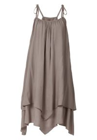 Sukienka z nieregularną linią dołu LENZING™ ECOVERO™ bonprix ciemny brunatny. Kolor: brązowy. Materiał: materiał. Długość rękawa: na ramiączkach. Styl: elegancki