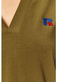 Russell Athletic - Russel Athletic - Sukienka. Okazja: na co dzień. Kolor: zielony. Materiał: dzianina. Wzór: aplikacja. Typ sukienki: proste. Styl: casual